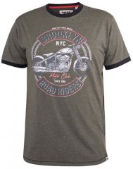 D555 Hereford Brooklyn Motorbike Printed Ringer T-Shirt Khaki