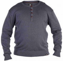 D555 Grandad Knitted Sweater Charcoal