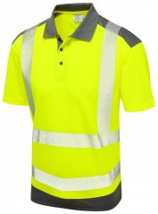 Leo Peppercombe Coolviz Plus Polo Hi-Vis Yellow/Grey
