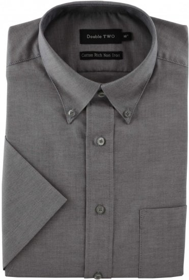Double TWO Non-Iron Oxford Short Sleeve Grey - Skjorter - Skjorter til store mænd 2XL- 8XL