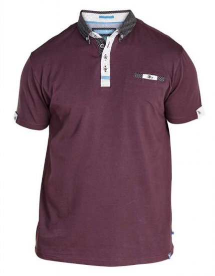 D555 Edger Stretch Cotton Polo Dark Burgundy - Polotrøjer - Polotrøjer 2XL-8XL