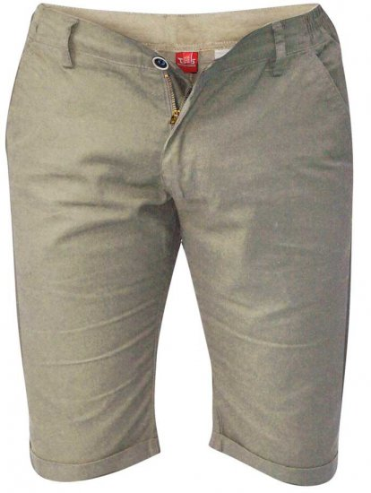D555 PANAMA Chino Short With Side Elasticated Waist Khaki - Shorts - Shorts i store størrelser - W40-W60