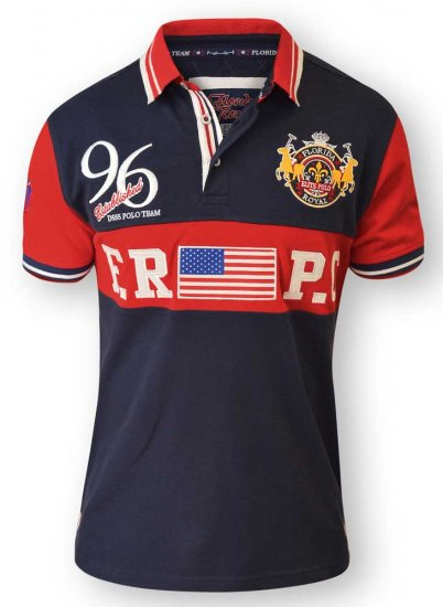 D555 ARYAN Florida Royal Racing Polo Navy/Red - Polotrøjer - Polotrøjer 2XL-8XL
