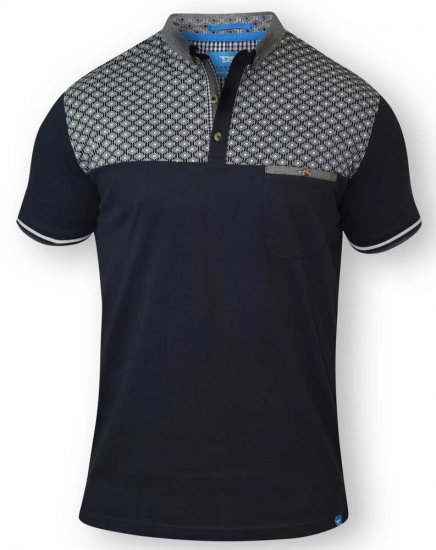 D555 MAURICE Top Paneled Short Sleeve Polo Navy - Polotrøjer - Polotrøjer 2XL-8XL