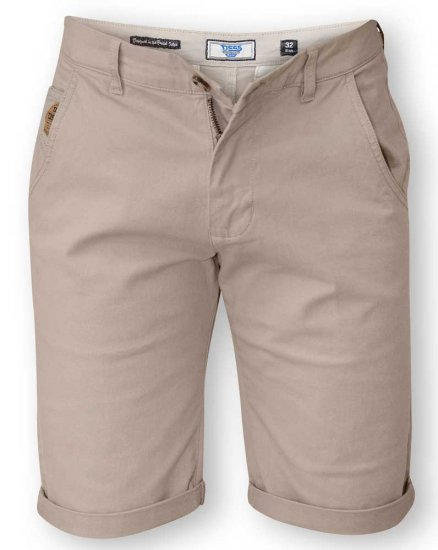D555 COLTEN Stretch Cotton Chino Short Beige - Shorts - Shorts i store størrelser - W40-W60