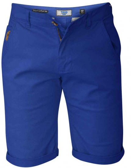 D555 COLTEN Stretch Cotton Chino Shorts Blue - Shorts - Shorts i store størrelser - W40-W60