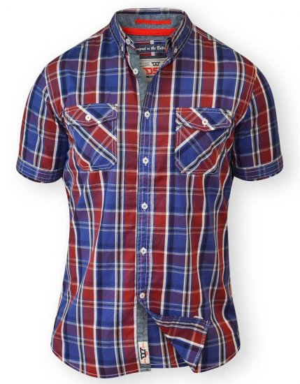D555 ELIAS Short Sleeve Blue & Red Check Shirt - Skjorter - Skjorter til store mænd 2XL- 8XL