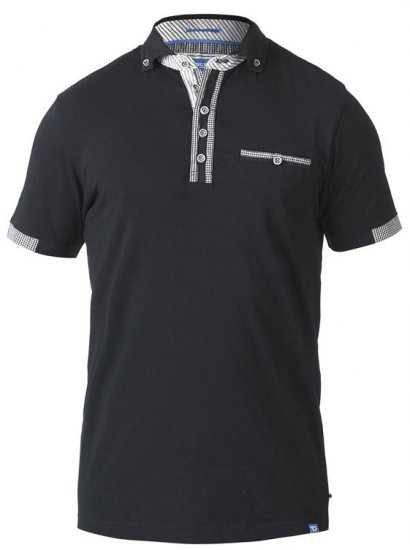 D555 SWANN Short Sleeve Stretch Polo Black - Polotrøjer - Polotrøjer 2XL-8XL