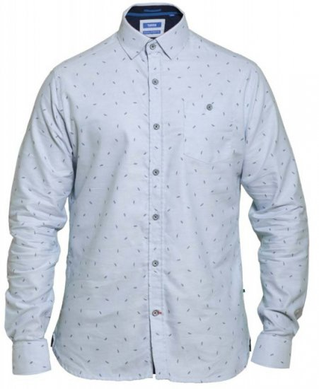 D555 Addington Printed Oxford Shirt Blue - Skjorter - Skjorter til store mænd 2XL- 8XL