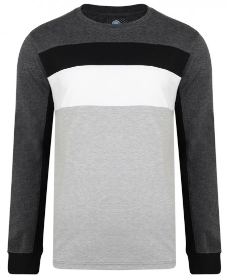 Kam Jeans 5240 Cut and Sew Long Sleeve T-shirt Grey - T-shirts - T-shirts i store størrelser - 2XL-8XL