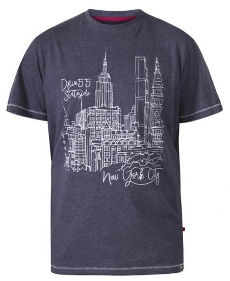 D555 Romford New York City Crew Neck T-Shirt Navy Marl - T-shirts - T-shirts i store størrelser - 2XL-8XL